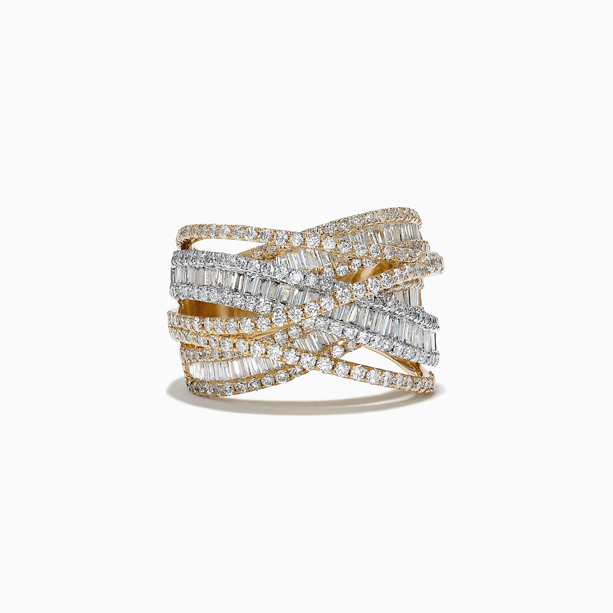 Effy Duo 14K White and Yellow Gold Diamond Crossover Ring, 2.75 TCW