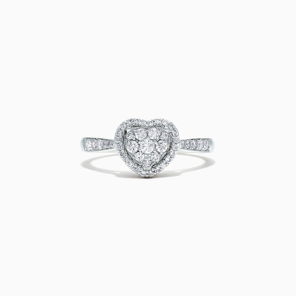Effy Pave Classica 14K White Gold Diamond Heart Ring, 0.39 TCW