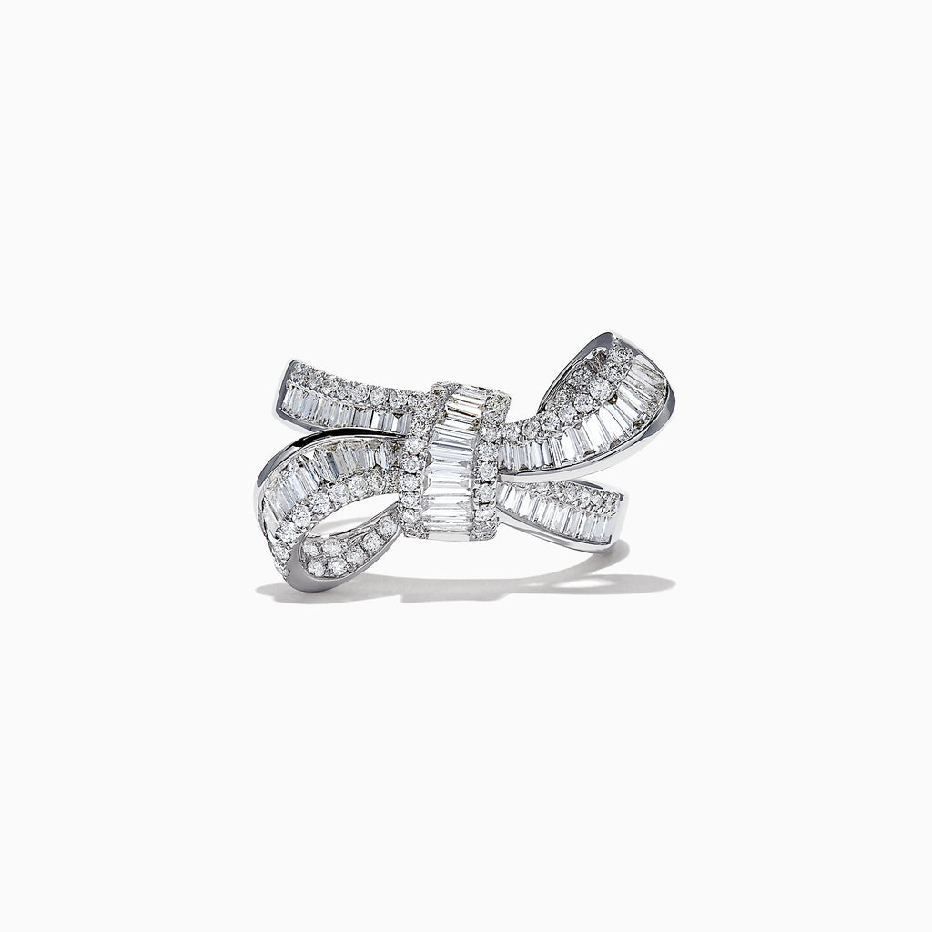 Effy Classique 14K White Gold Diamond Bow Ring, 1.16 TCW