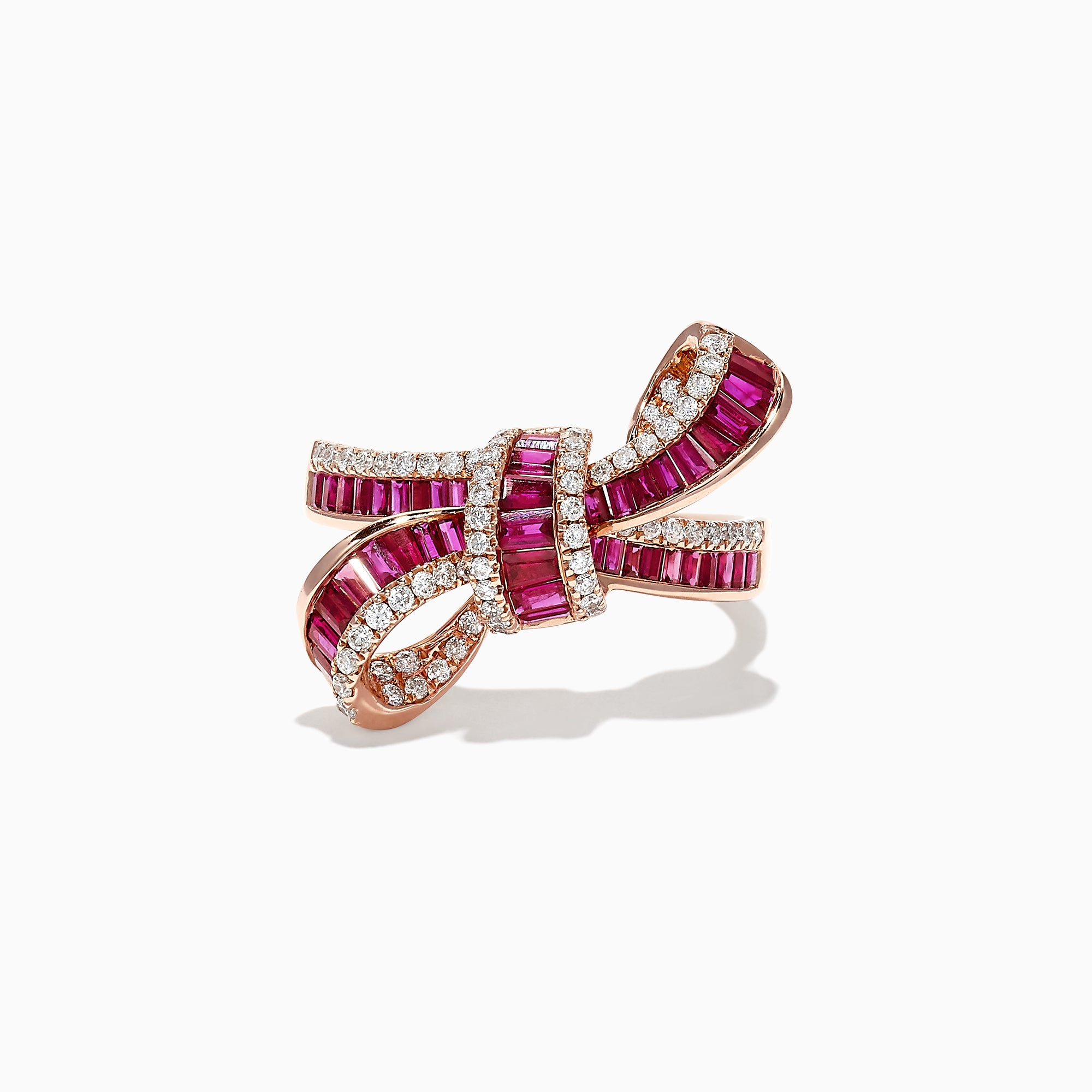 Effy Ruby Royale 14K Rose Gold Ruby and Diamond Bow Ring, 1.61 TCW