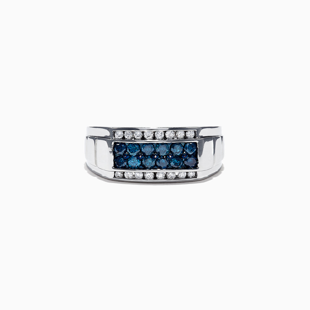 Effy Men's 14K White Gold Blue and White Diamond Ring, 1.0 TCW