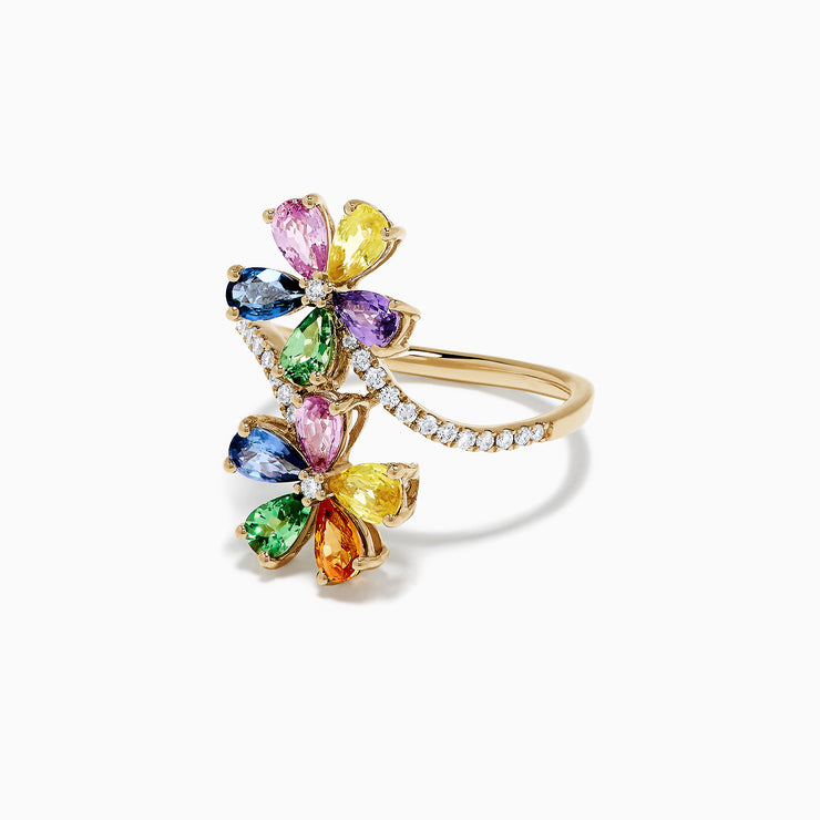 Effy Watercolors 14K Gold Multi Sapphire and Diamond Floral Ring, 3.03 TCW