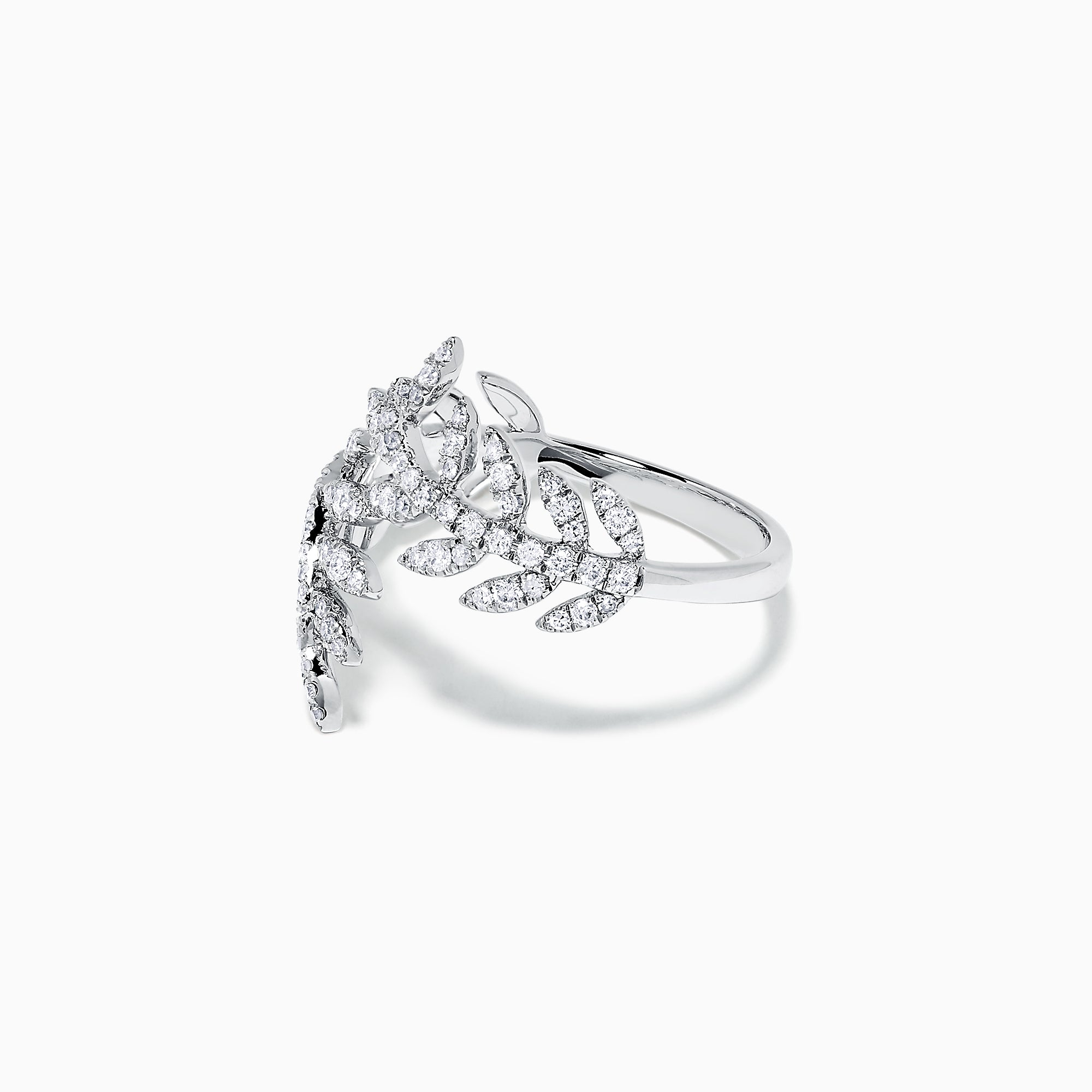 Effy Pave Classica 14K White Gold Diamond Leaf Ring, 0.53 TCW