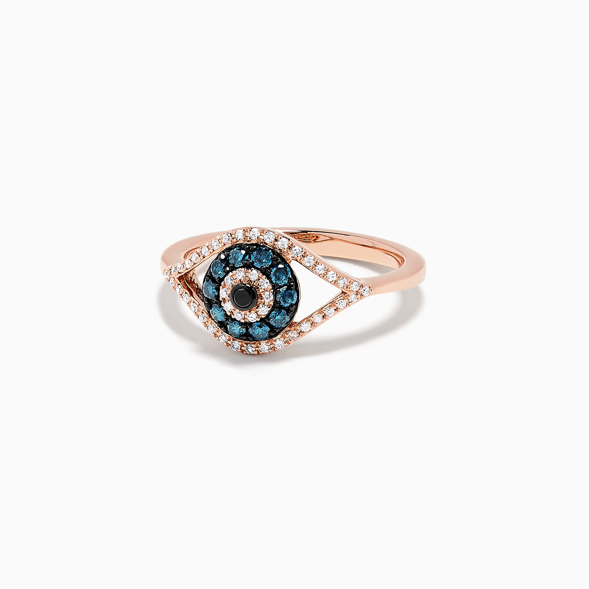 Effy Novelty 14K Gold Blue, White and Black Diamond Evil Eye Ring, 0.37 TCW