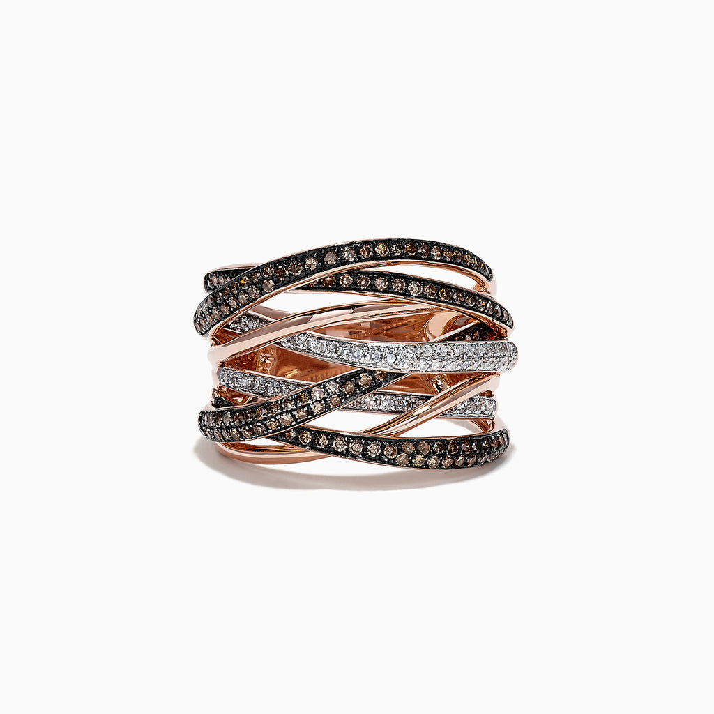 Effy Espresso 14K Rose Gold Cognac and White Diamond Ring, 0.74 TCW