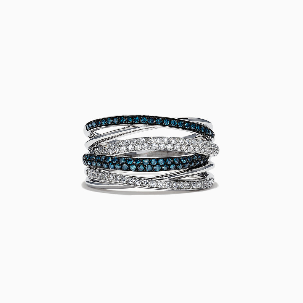 Effy Bella Bleu 14K White Gold Blue and White Diamond Ring, 0.56 TCW