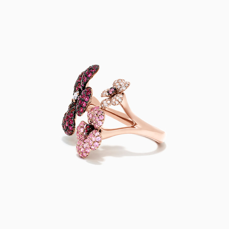 Effy Nature 14K Rose Gold Sapphire, Ruby & Diamond Flower Ring, 3.45 TCW
