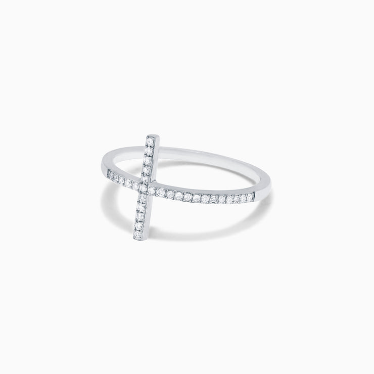 Effy Novelty 14K White Gold Diamond Cross Ring, 0.10 TCW