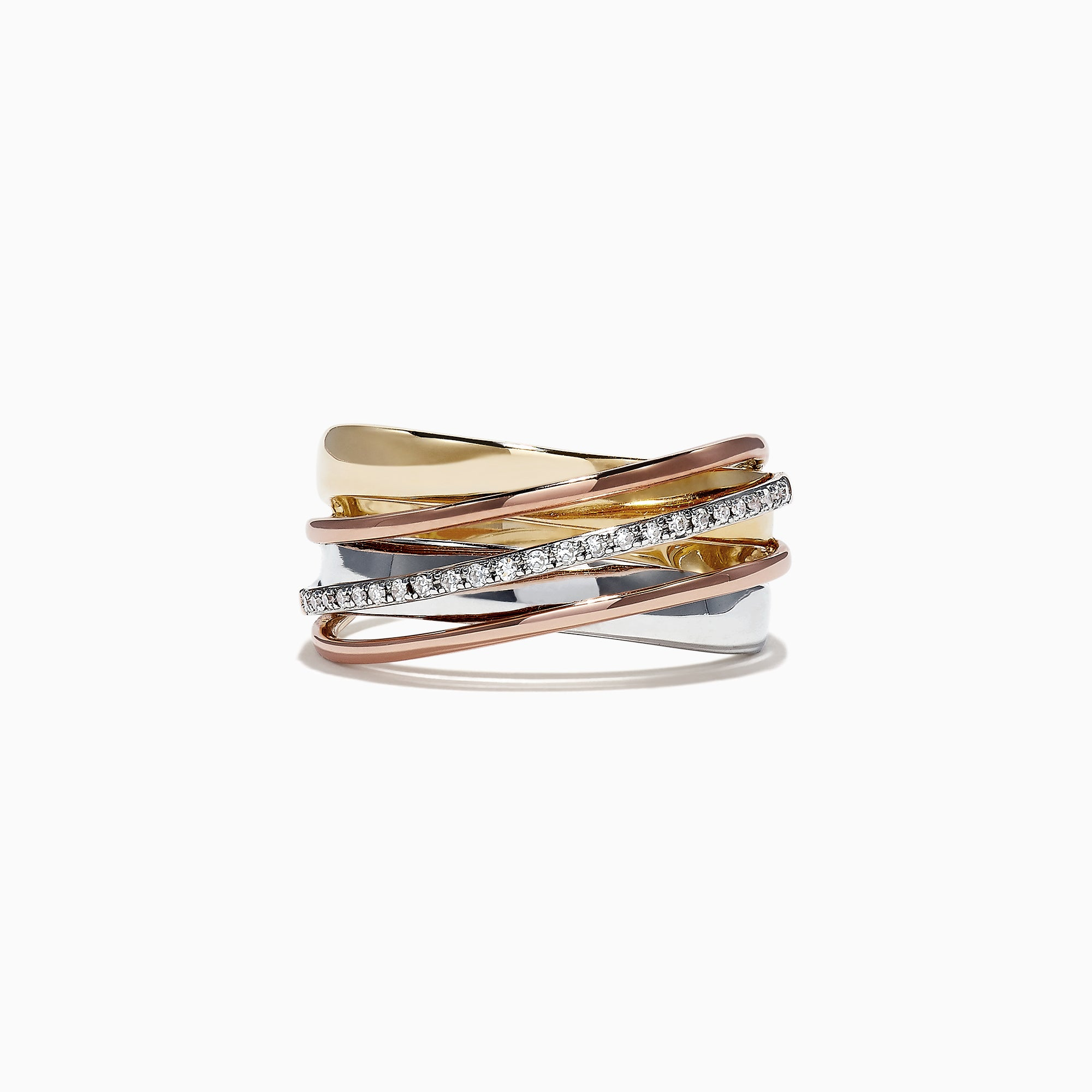 Effy Trio 14K Tri-Color Gold Diamond Accented Ring, 0.11 TCW