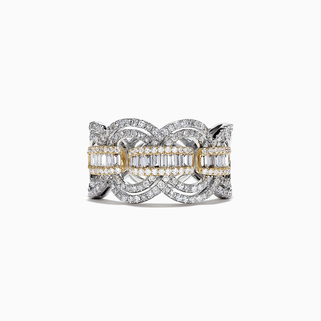 Effy Duo 14K White and Yellow Gold Diamond Ring, 1.09 TCW