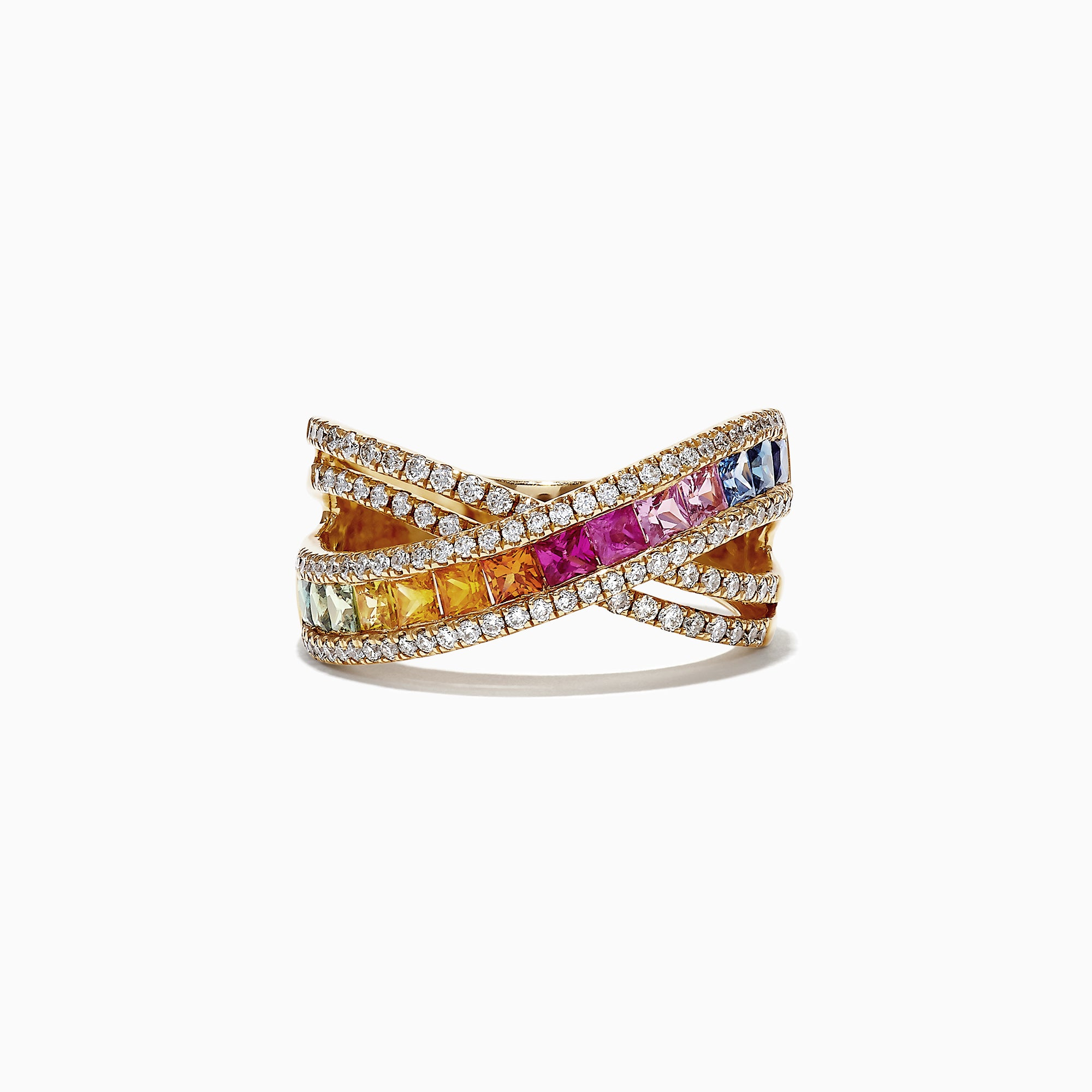 Effy Watercolors 14K Yellow Gold Multi Sapphire and Diamond Ring, 2.05 TCW
