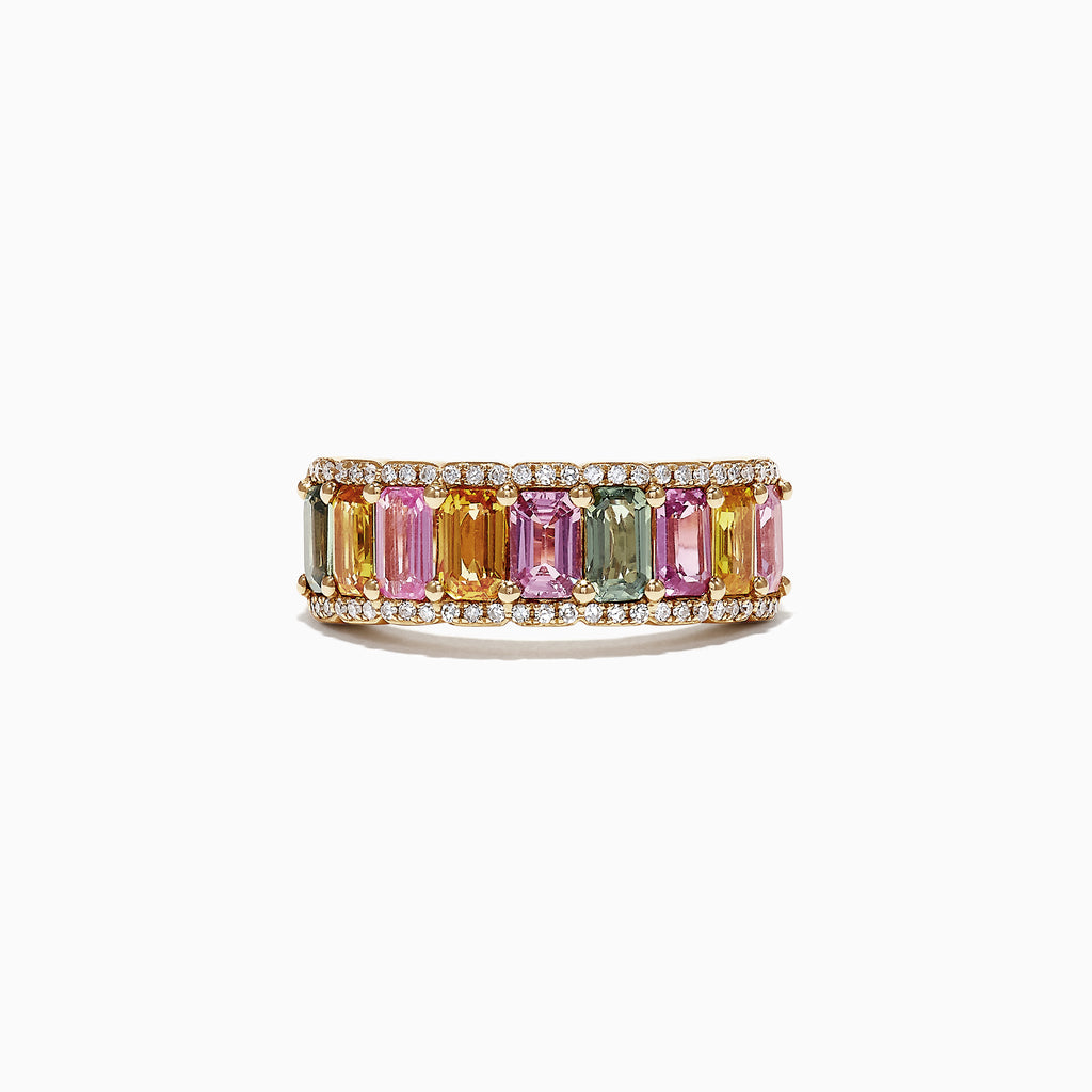 Effy Watercolors 14K Yellow Gold Multi Sapphire & Diamond Ring, 3.63 TCW