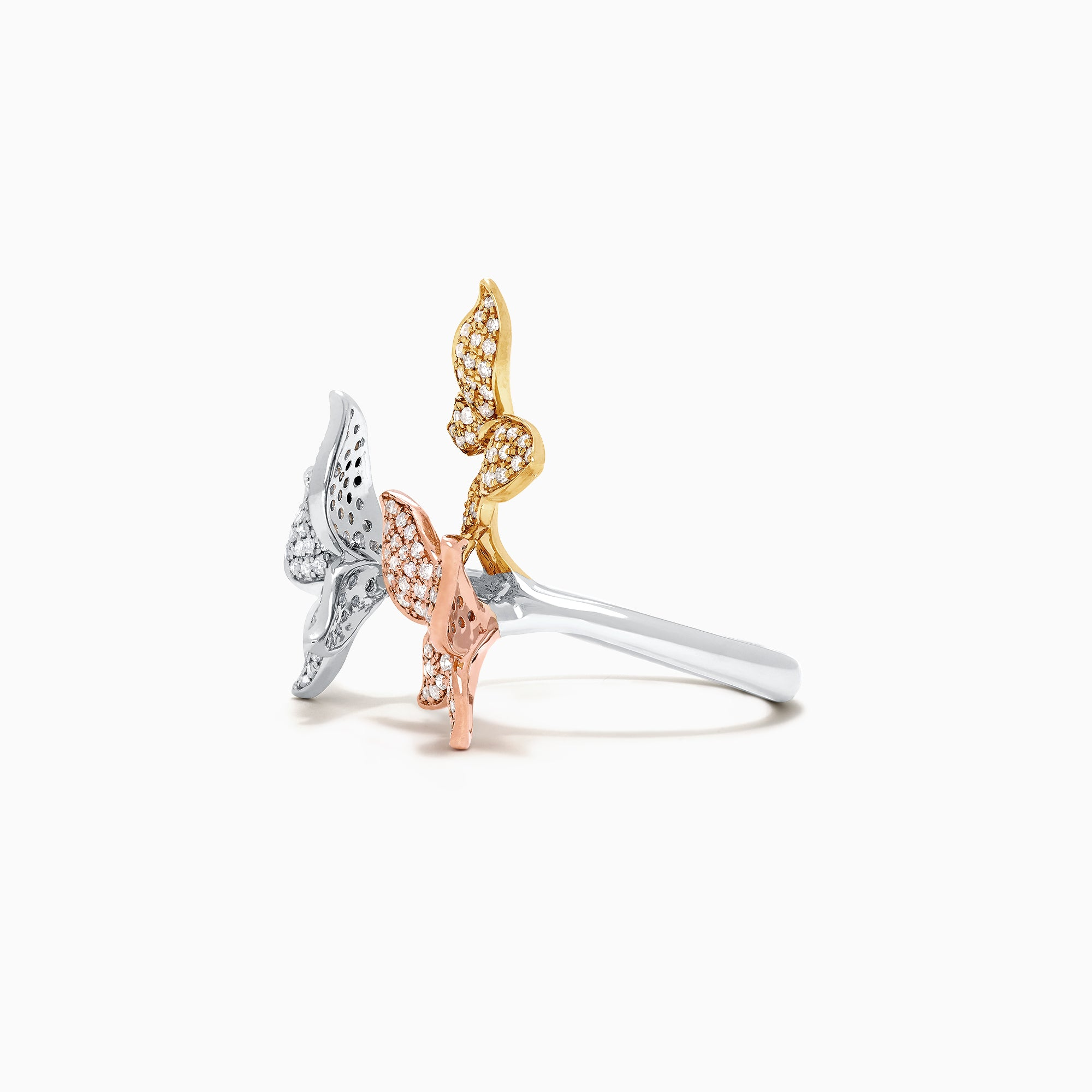 Effy Trio 14K Tri Color Gold Diamond Butterfly Ring, 0.66 TCW