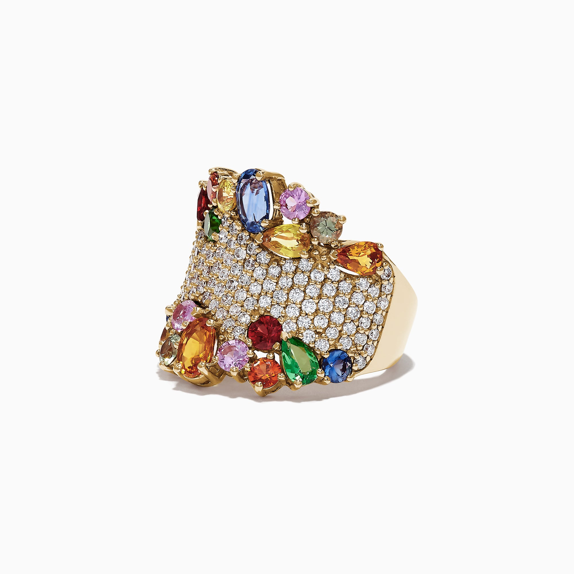 Effy Watercolors 14K Yellow Gold Multi Sapphire and Diamond Ring, 5.59 TCW