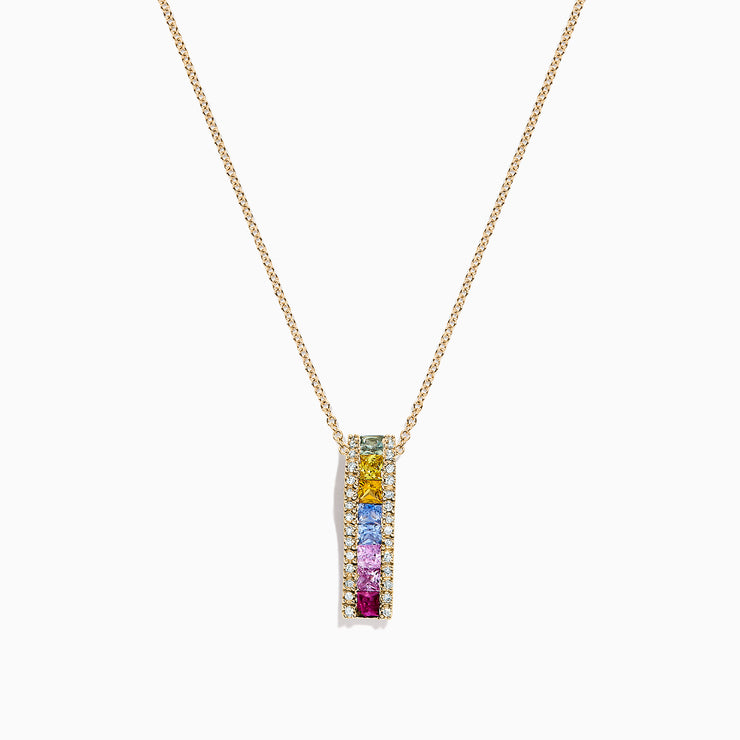Effy Watercolors 14K Yellow Gold Multi Sapphire & Diamond Pendant, 1.17 TCW