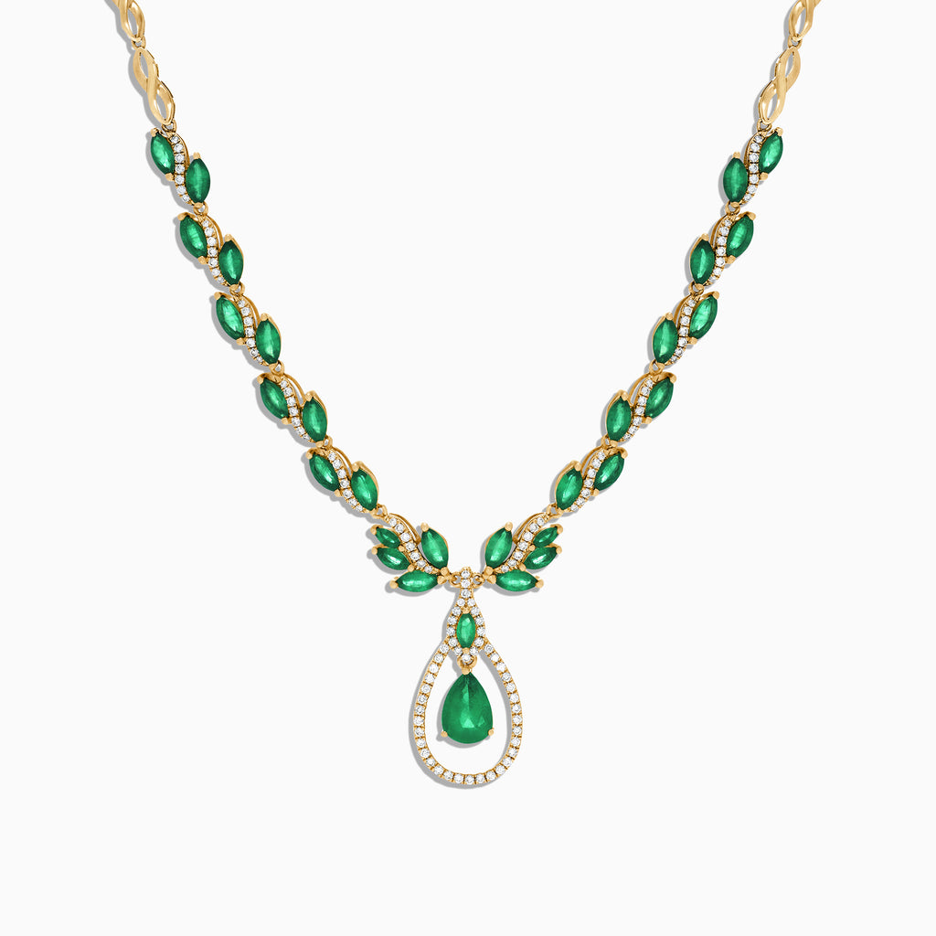 Effy Brasilica 14K Yellow Gold Emerald and Diamond Necklace, 9.74 TCW