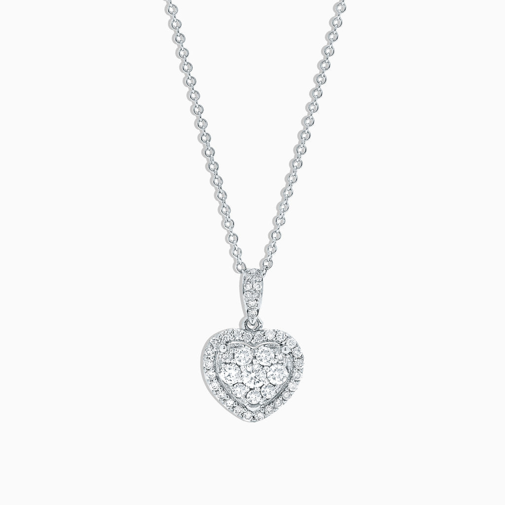 Effy Bouquet 14K White Gold Diamond Heart Pendant, 0.45 TCW