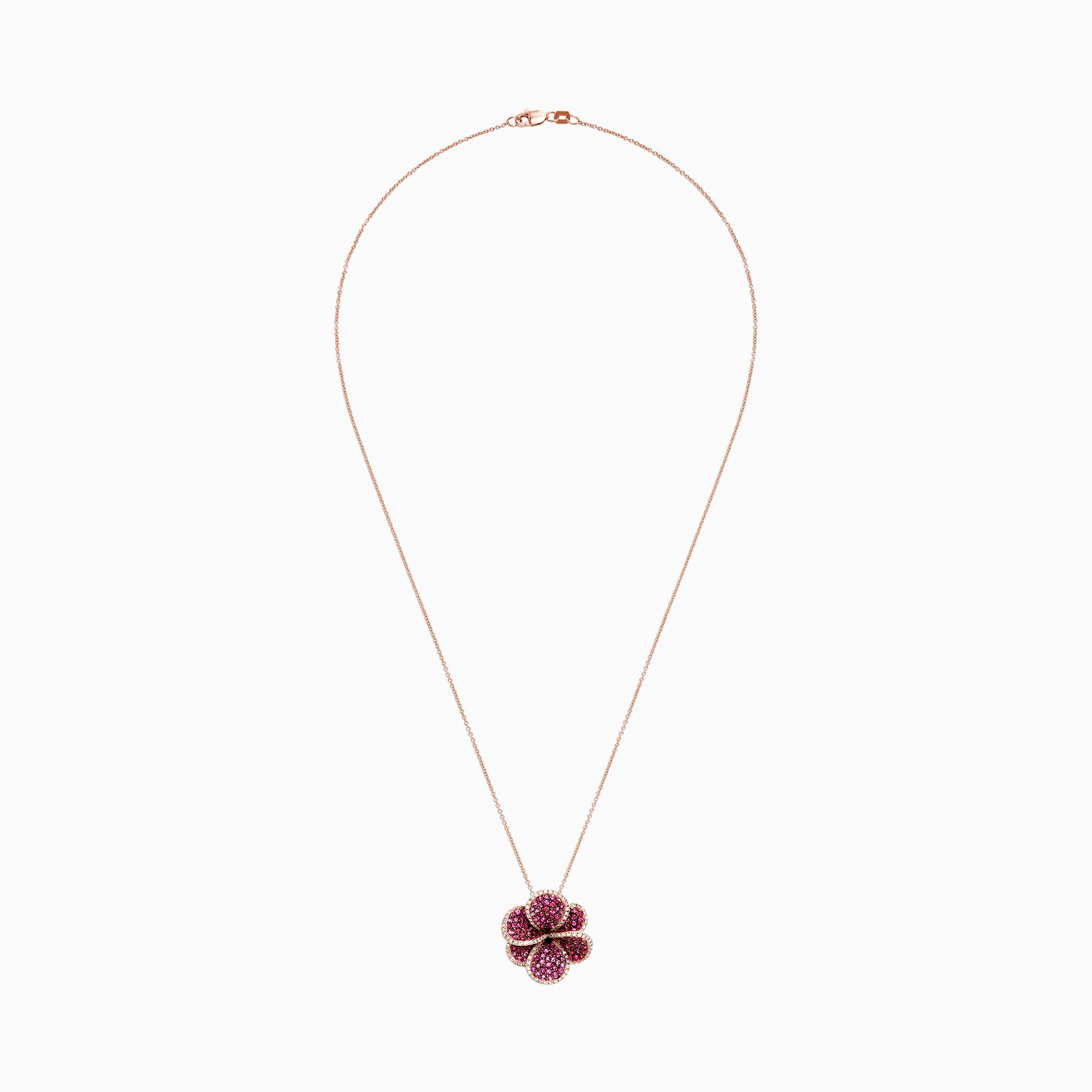 Effy Nature 14K Rose Gold Ruby and Diamond Flower Pendant, 2.49 TCW