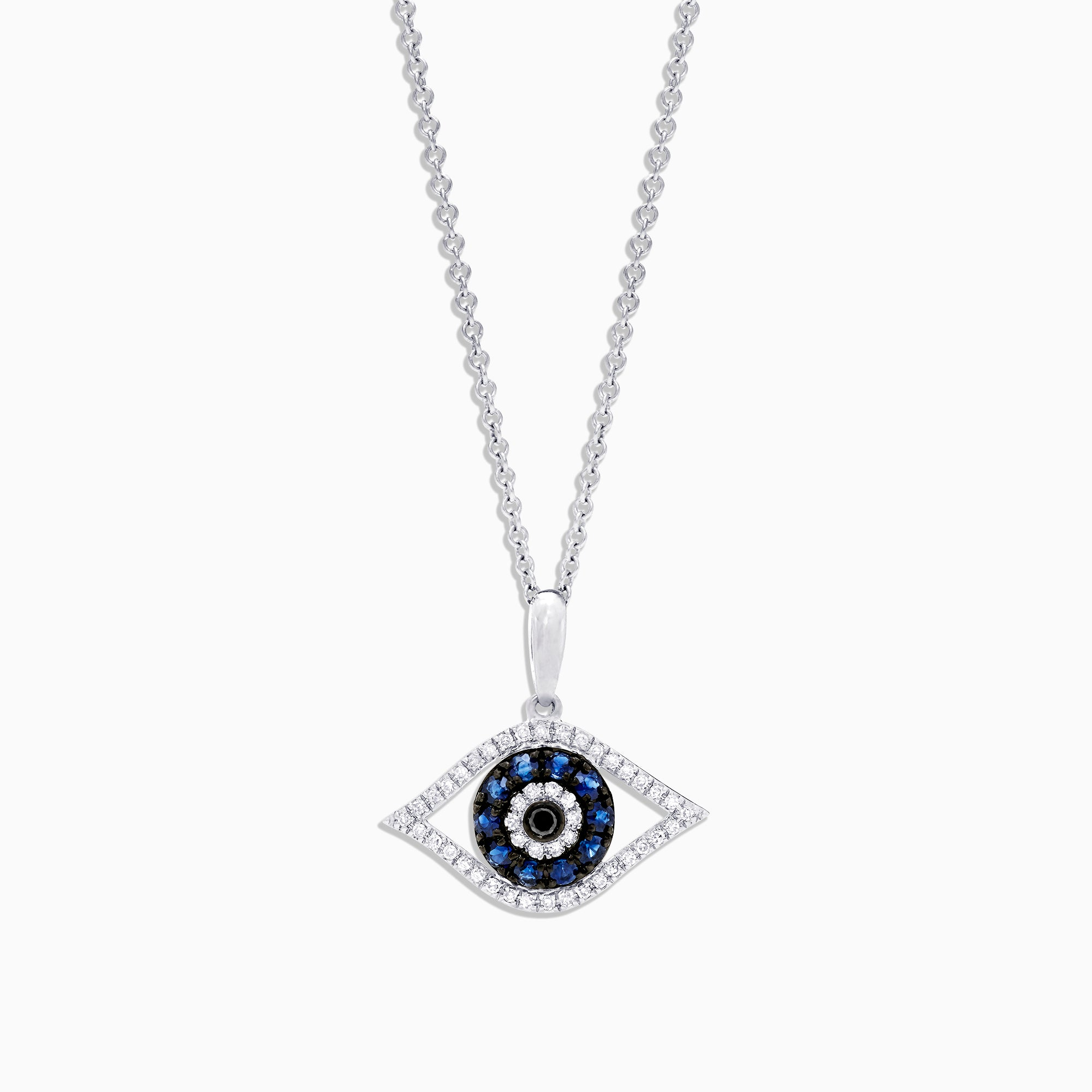 Effy Novelty 14K White Gold Sapphire & Diamond Evil Eye Pendant, 0.42 TCW