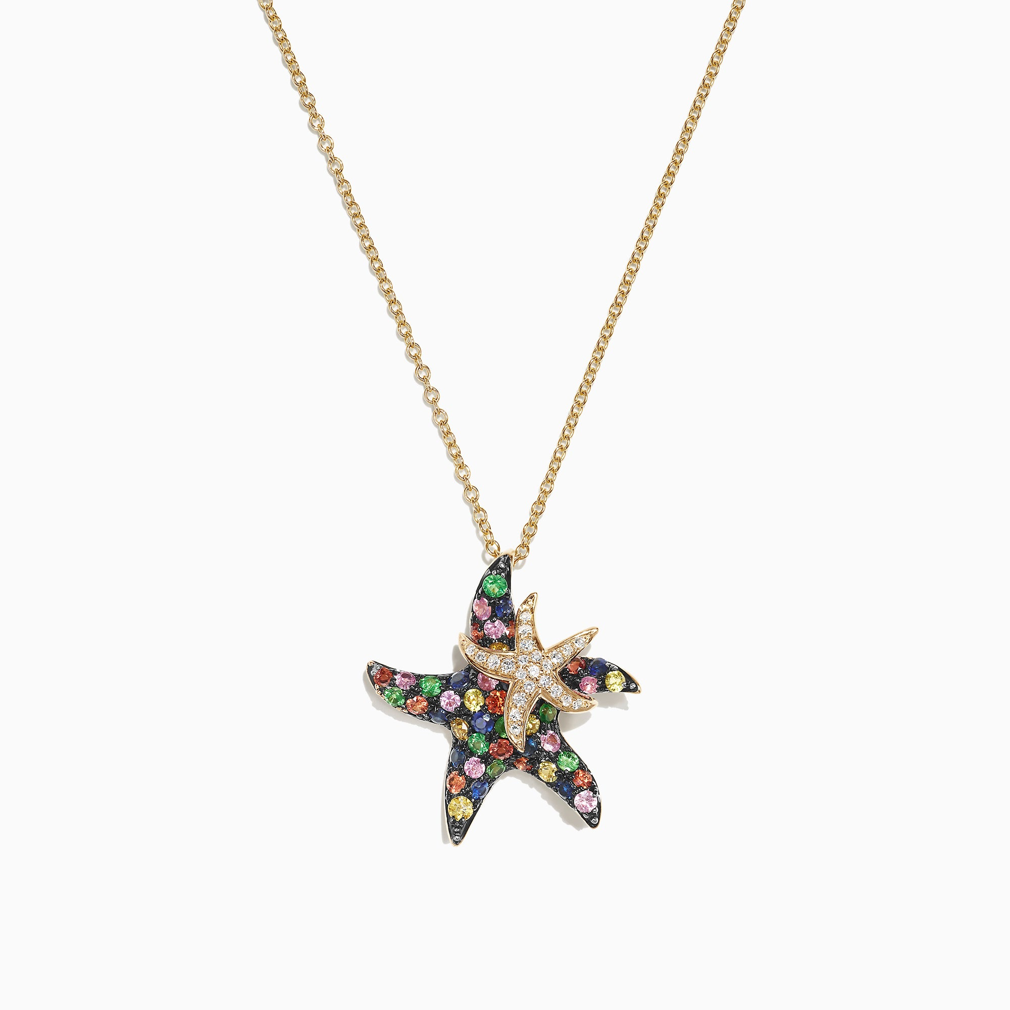Effy Watercolors 14K Gold Sapphire & Diamond Starfish Pendant, 1.27 TCW