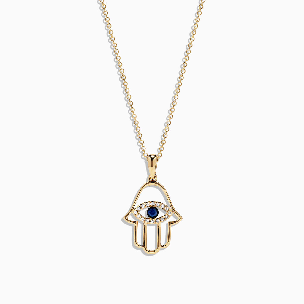 Effy Novelty 14K Yellow Gold Sapphire and Diamond Hamsa Pendant, 0.16 TCW