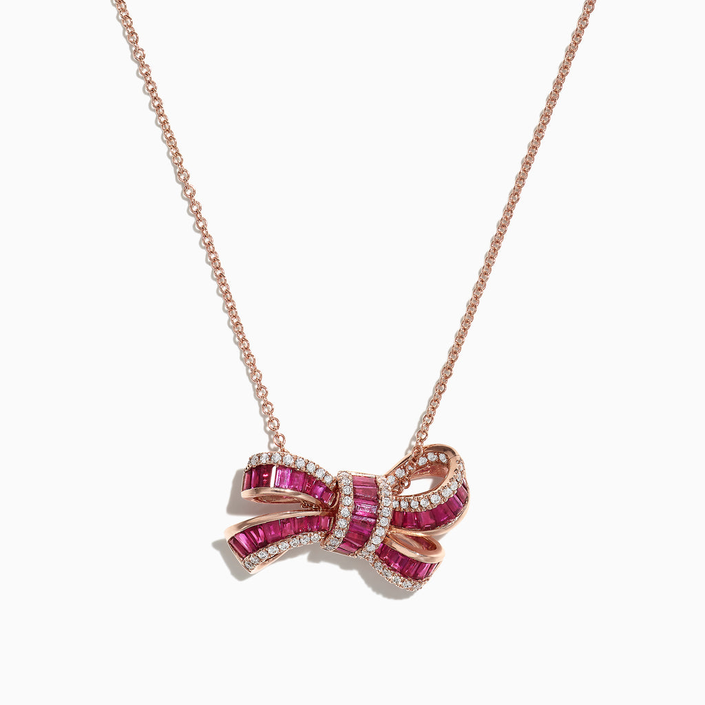 Effy Ruby Royale 14K Rose Gold Ruby Diamond Bow Pendant, 1.94 TCW
