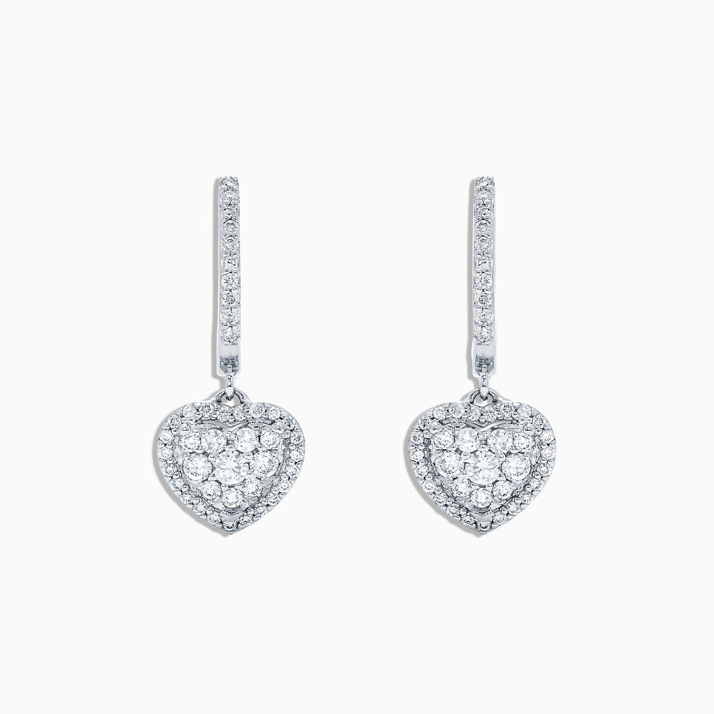 Effy Pave Classica 14K White Gold Diamond Heart Earrings, 0.48 TCW