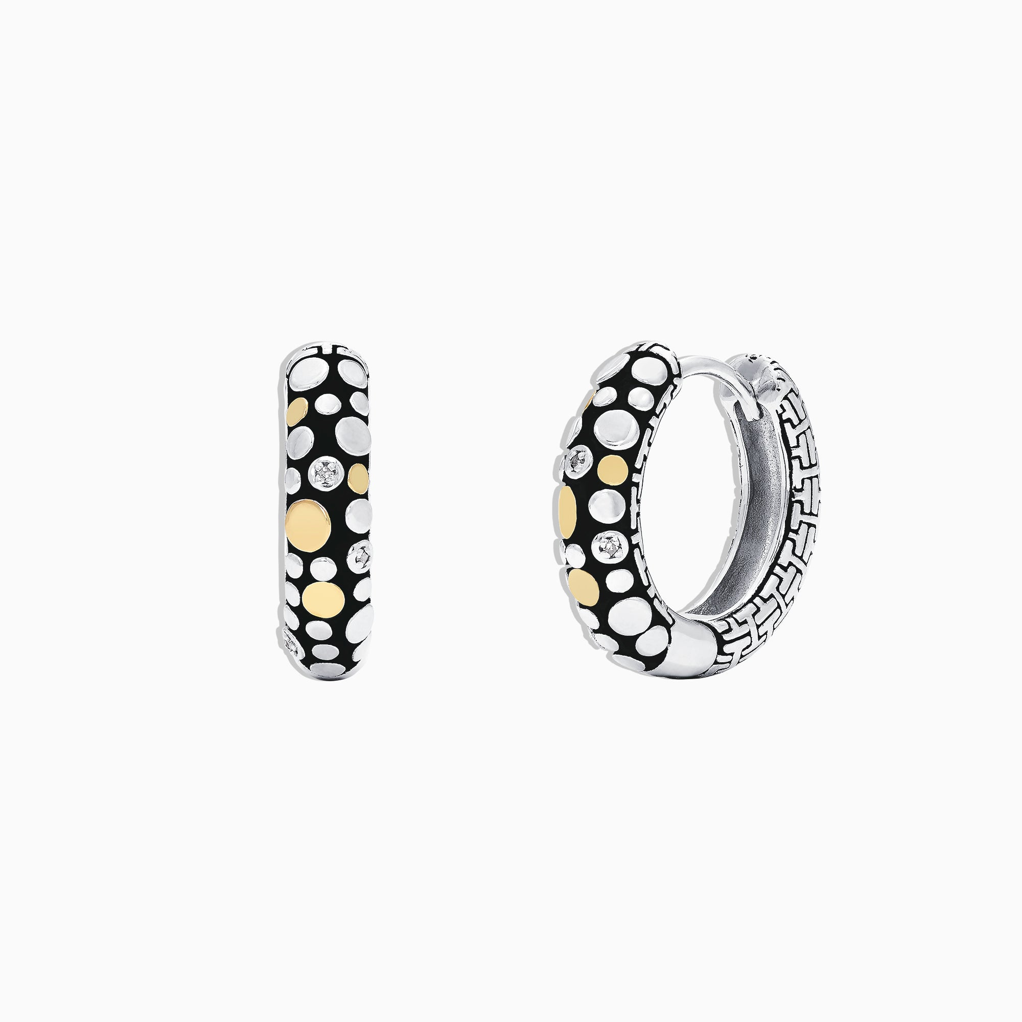 Effy 925 Sterling Silver & 18K Yellow Gold Diamond Hoop Earrings, 0.02 TCW