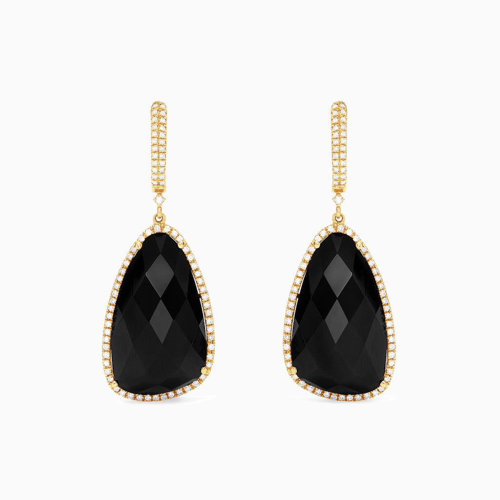 Effy Eclipse 14K Yellow Gold Onyx and Diamond Earrings, 22.46 TCW