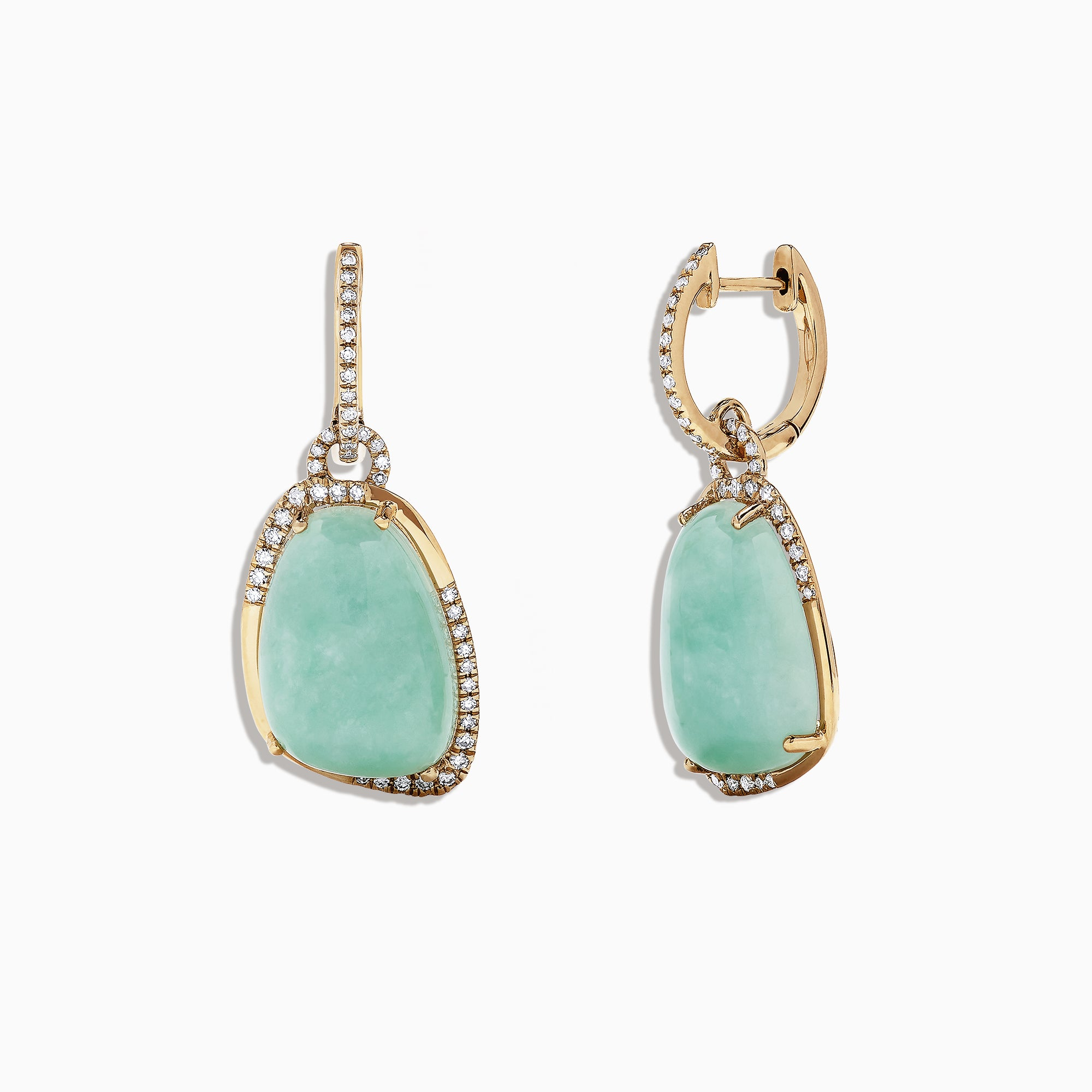 Effy 14K Yellow Gold Jade and Diamond Earring, 19.24 TCW