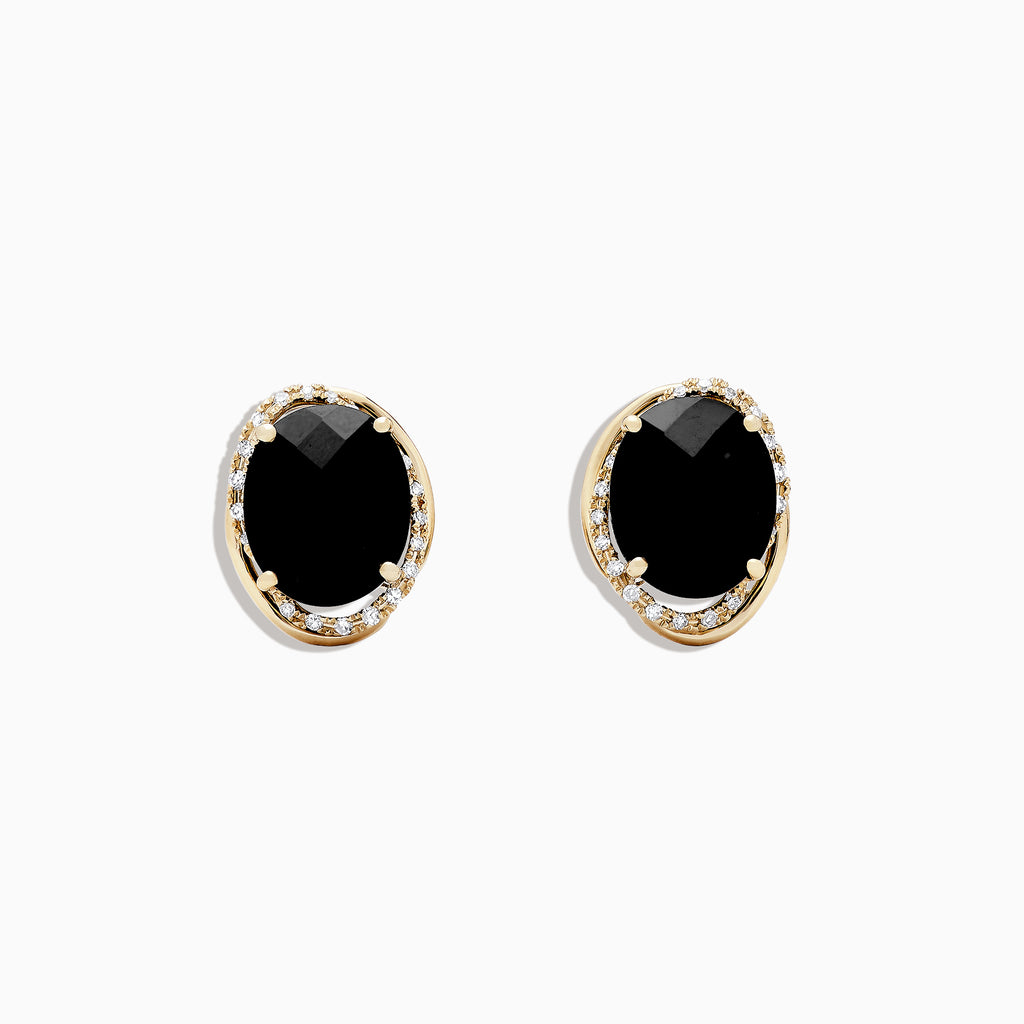 Effy Eclipse 14K Yellow Gold Onyx and Diamond Earring, 8.83 TCW