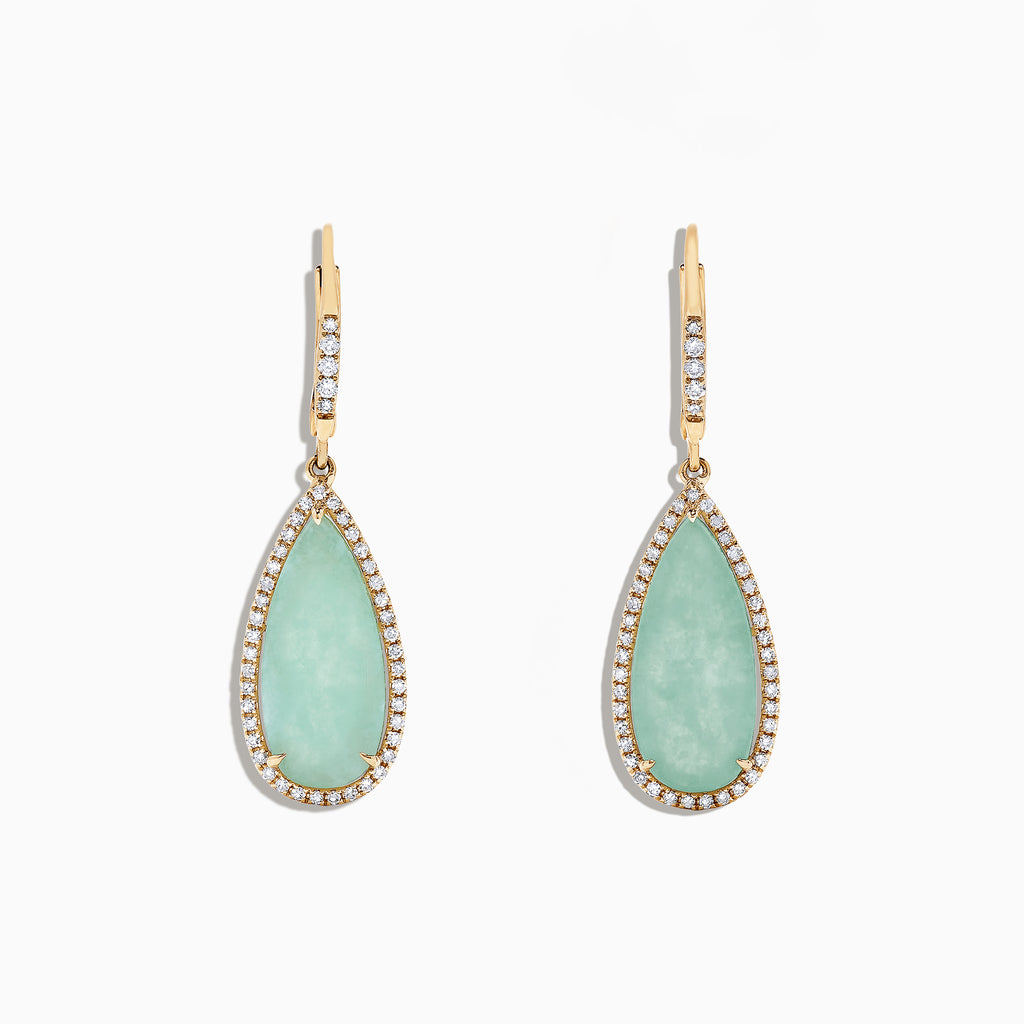Effy 14K Yellow Gold Jade and Diamond Earrings, 8.09 TCW