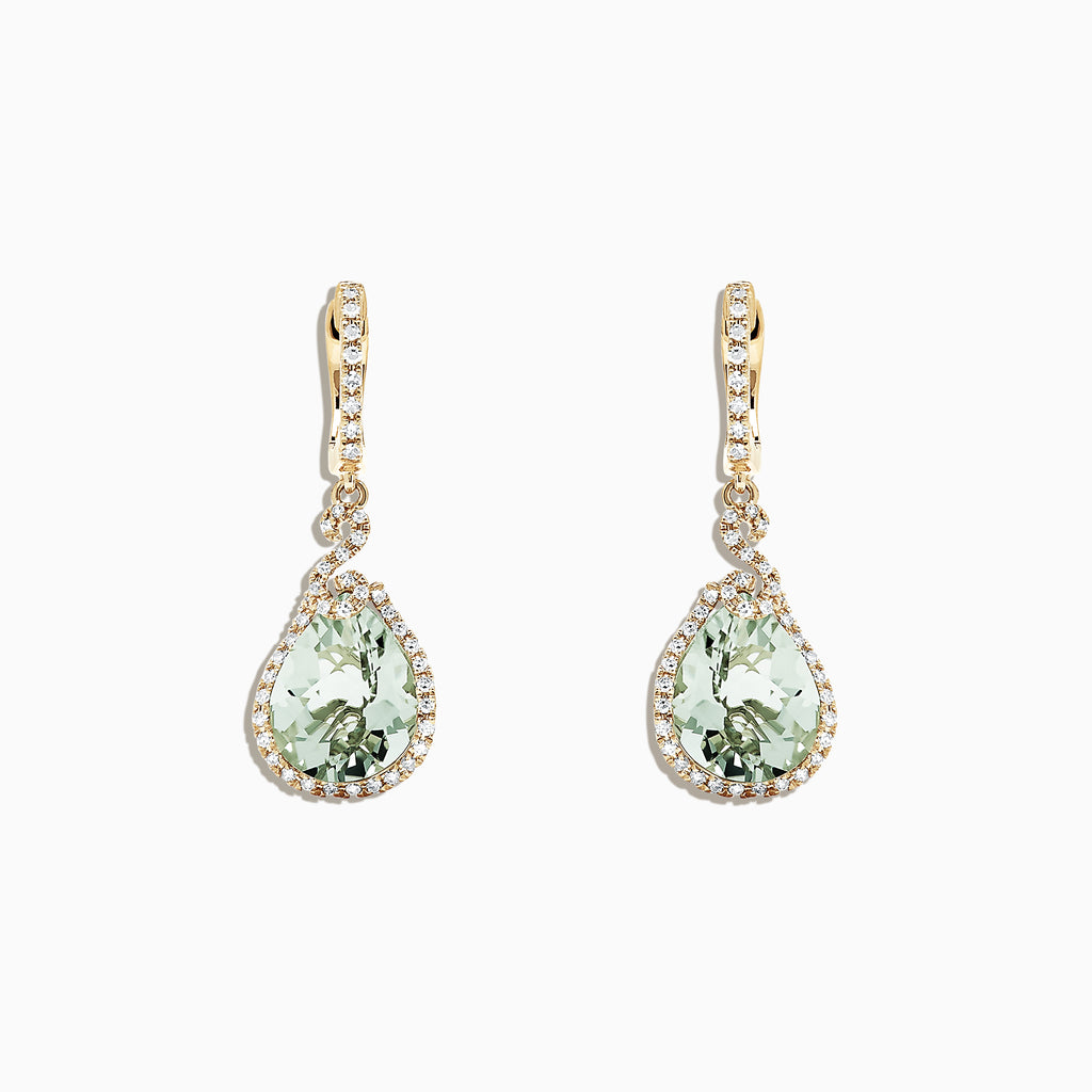 Effy 14K Yellow Gold Green Amethyst and Diamond Drop Earrings, 7.03 TCW
