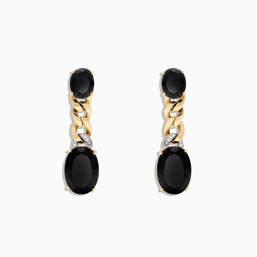 Effy 14K Yellow Gold Black Jade and Diamond Drop Earrings, 18.05 TCW
