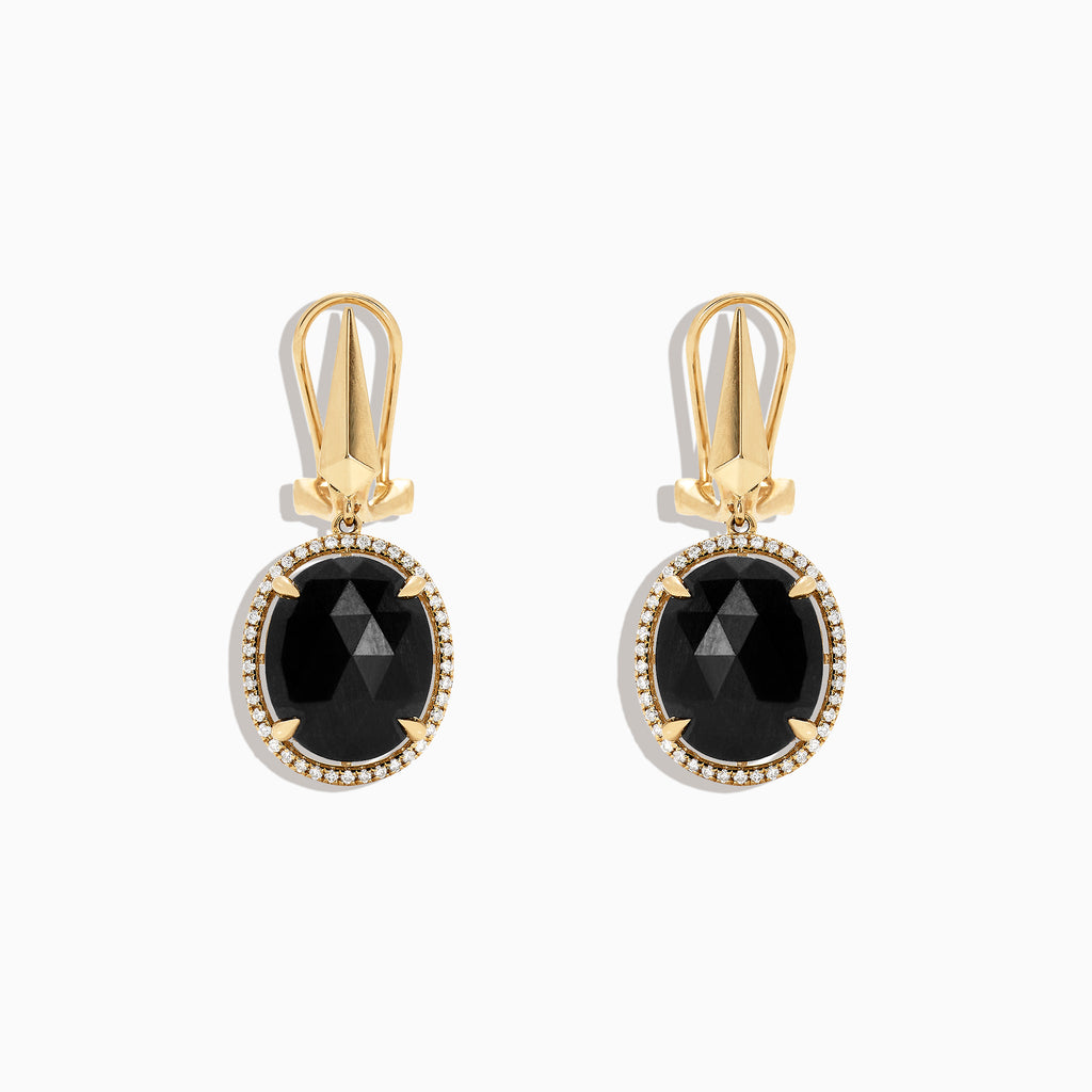 Effy 14K Yellow Gold Black Jade and Diamond Drop Earrings, 10.35 TCW