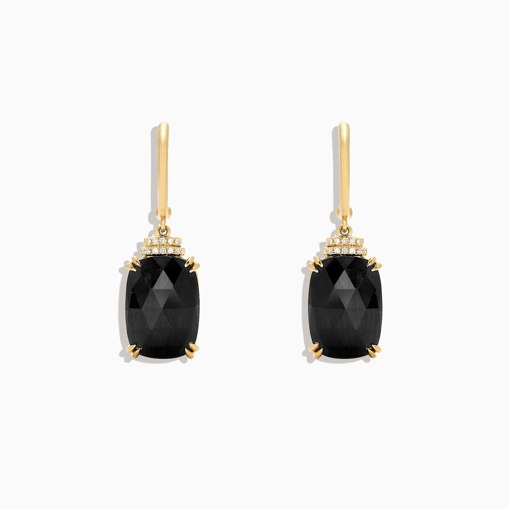 Effy 14K Yellow Gold Black Jade and Diamond Drop Earrings, 14.29 TCW