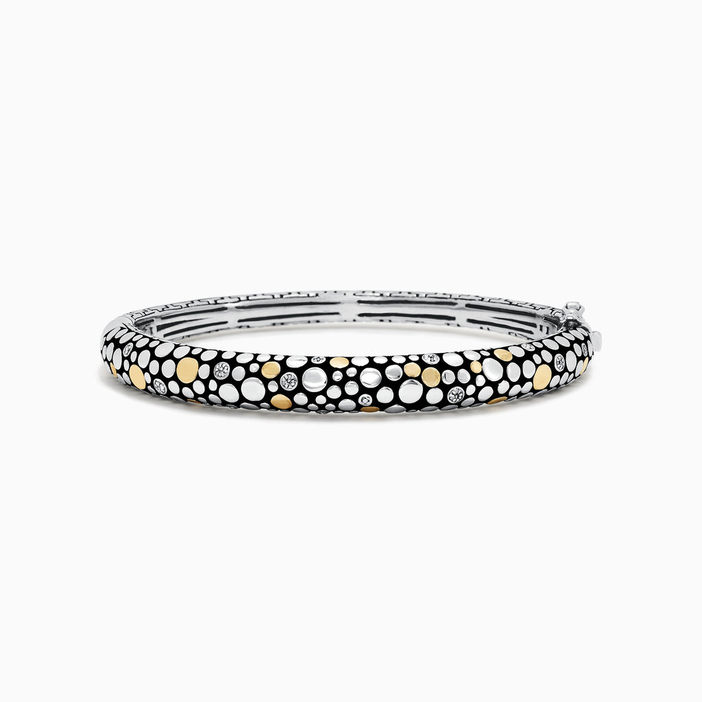 Effy 925 Sterling Silver & 18K Gold Diamond Accented Bangle, 0.07 TCW