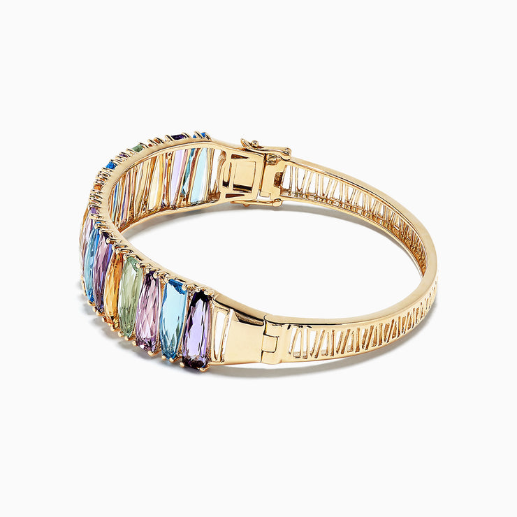 Effy Mosaic 14K Yellow Gold Multi Gemstone and Diamond Bangle, 24.97 TCW