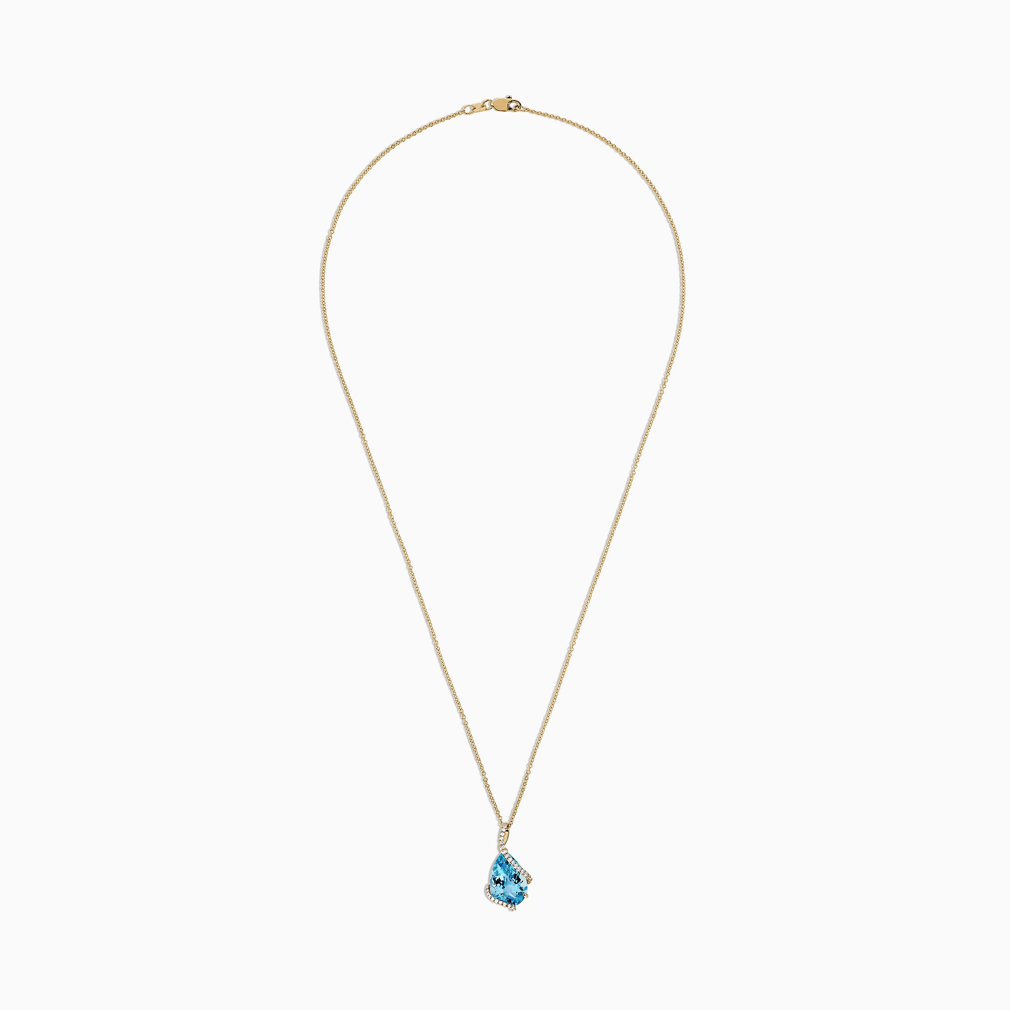 Effy Ocean Bleu 14K Yellow Gold Blue Topaz and Diamond Pendant, 6.09 TCW