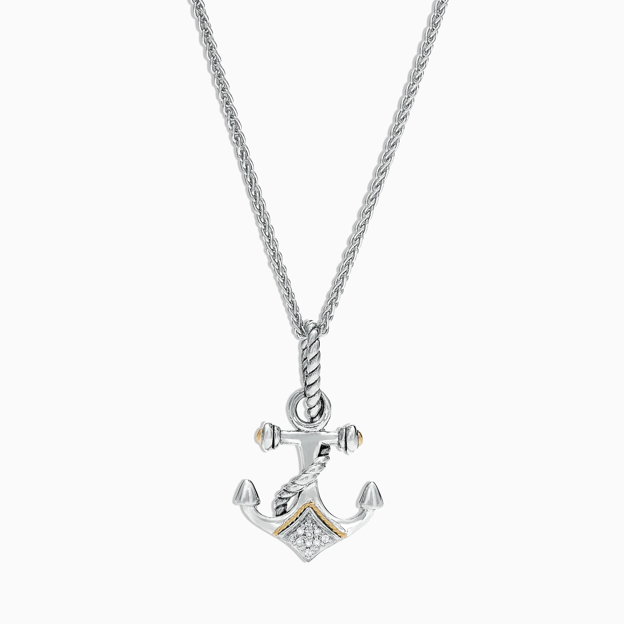 Effy Seaside Sterling Silver & 18K Gold Diamond Anchor Pendant, 0.04 TCW