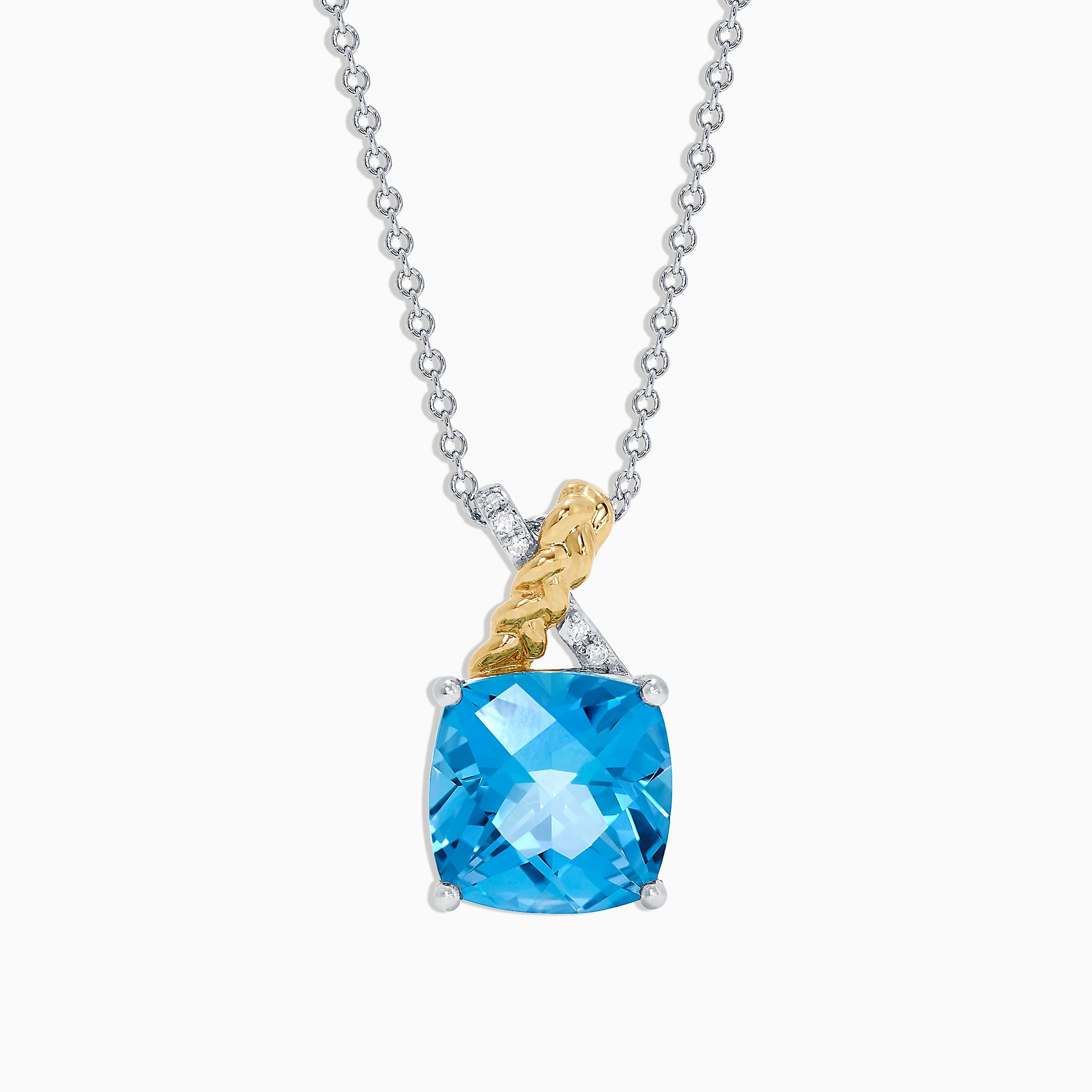 Effy 14K Two Tone Gold Blue Topaz and Diamond Pendant, 4.52 TCW