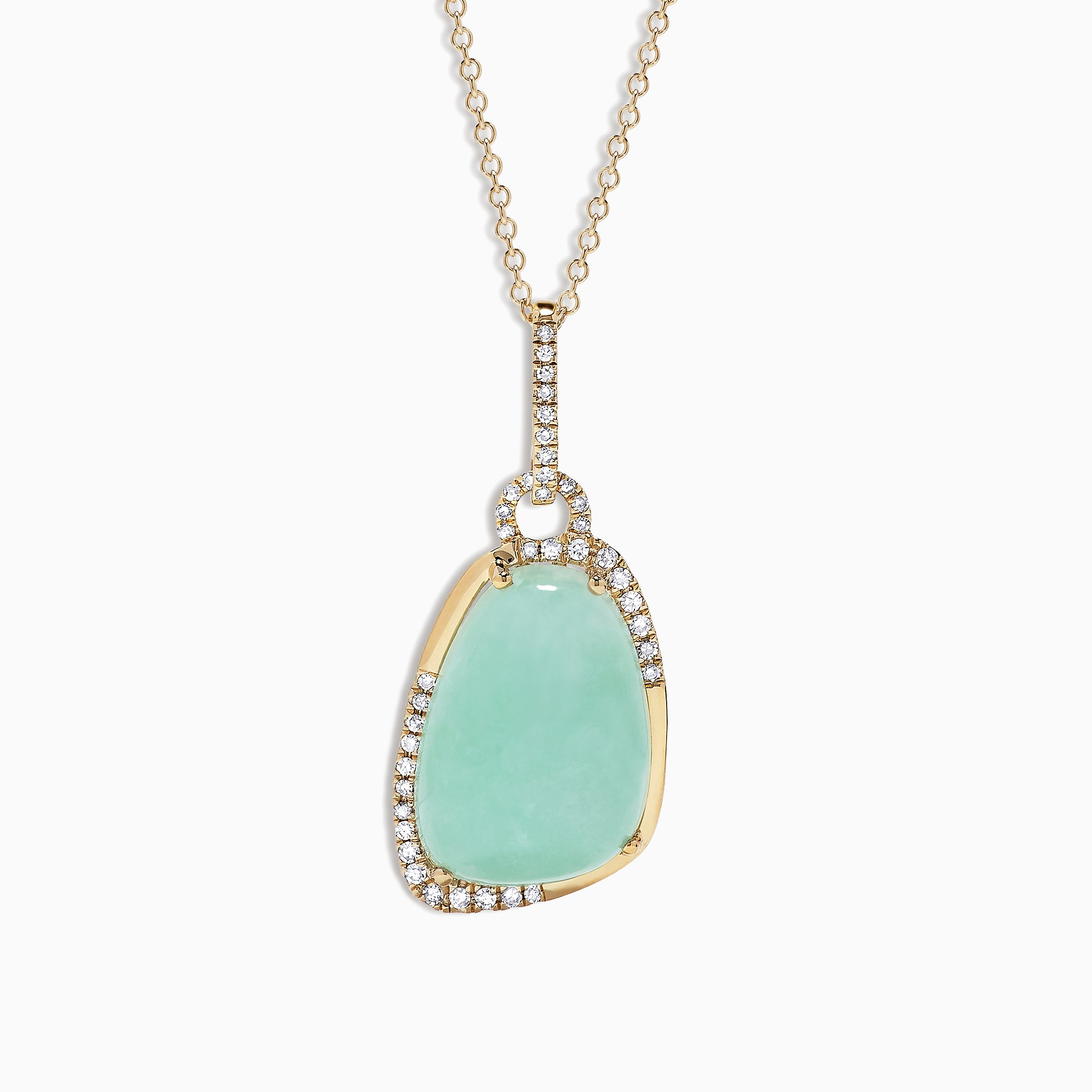 Effy 14K Yellow Gold Jade and Diamond Pendant, 9.08 TCW