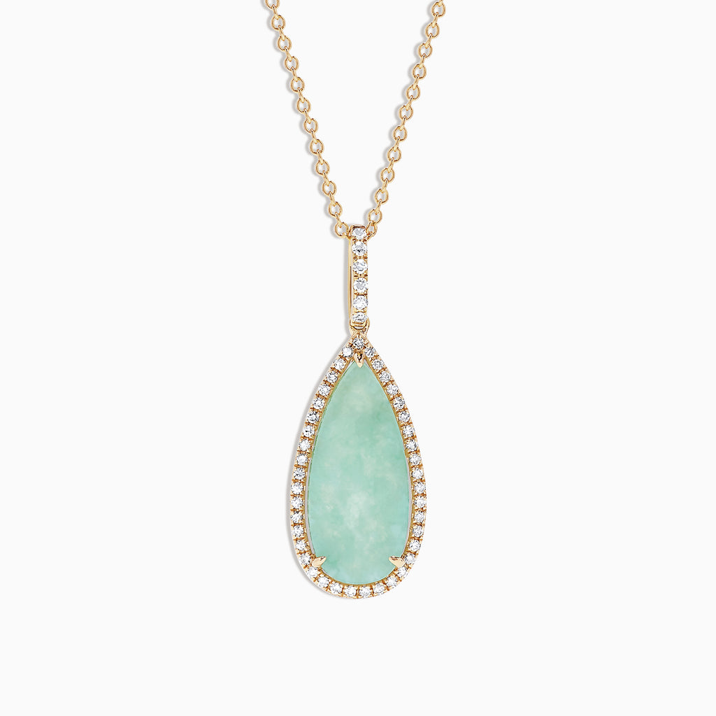 Effy 14K Yellow Gold Jade and Diamond Pendant, 4.85 TCW