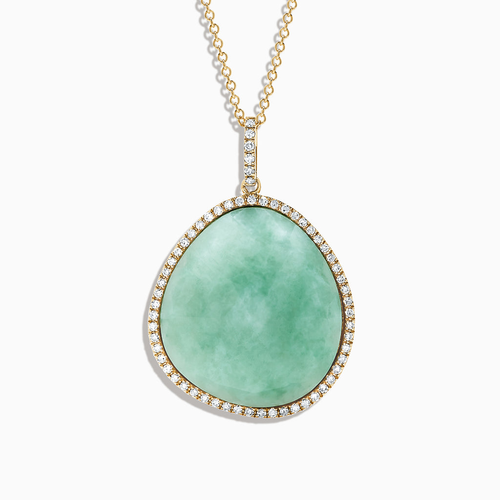 Effy 14K Yellow Gold Jade and Diamond Pendant, 28.93 TCW