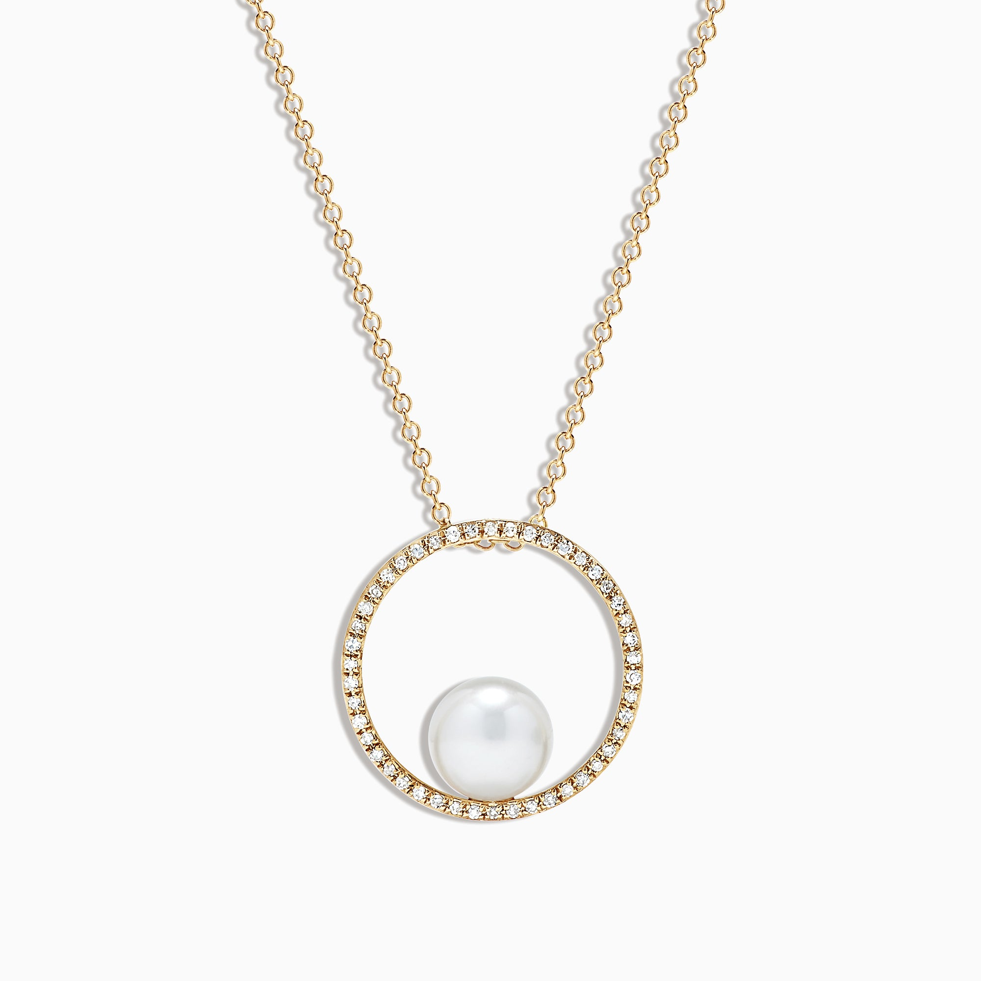 Effy 14K Yellow Gold Cultured Pearl and Diamond Pendant, 0.15 TCW