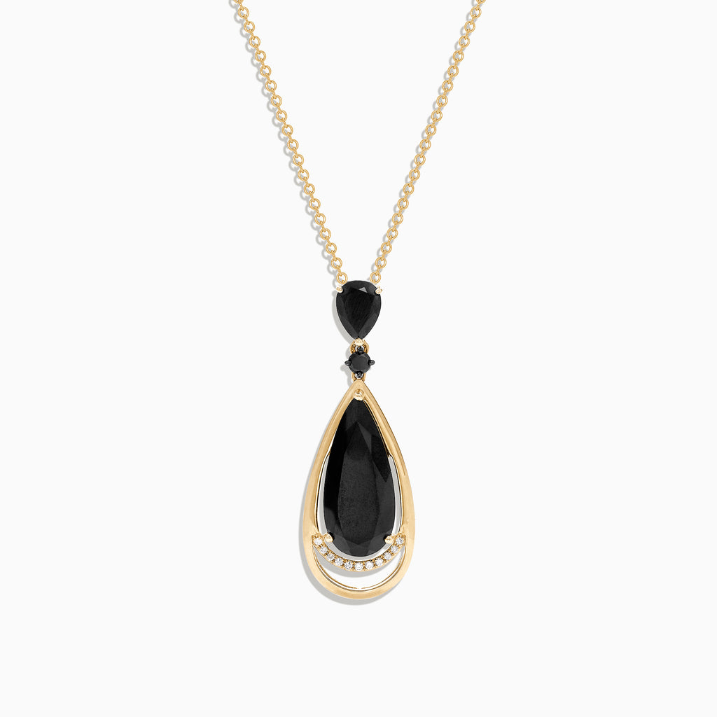 Effy 14K Yellow Gold Black Jade and Diamond Pendant, 6.66 TCW
