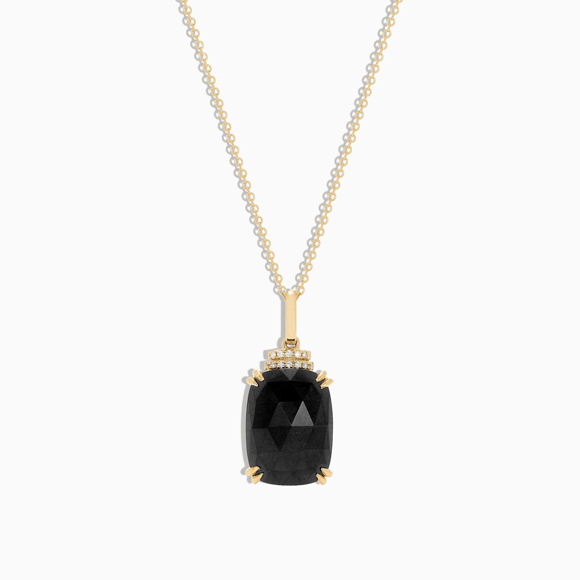 Effy 14K Yellow Gold Black Jade and Diamond Pendant, 11.90 TCW