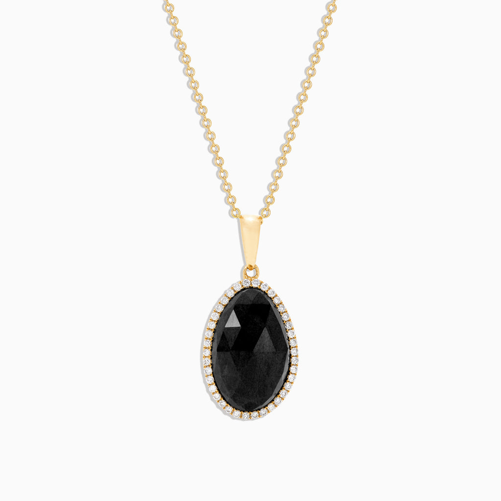 Effy 14K Yellow Gold Black Jade and Diamond Pendant, 4.18 TCW