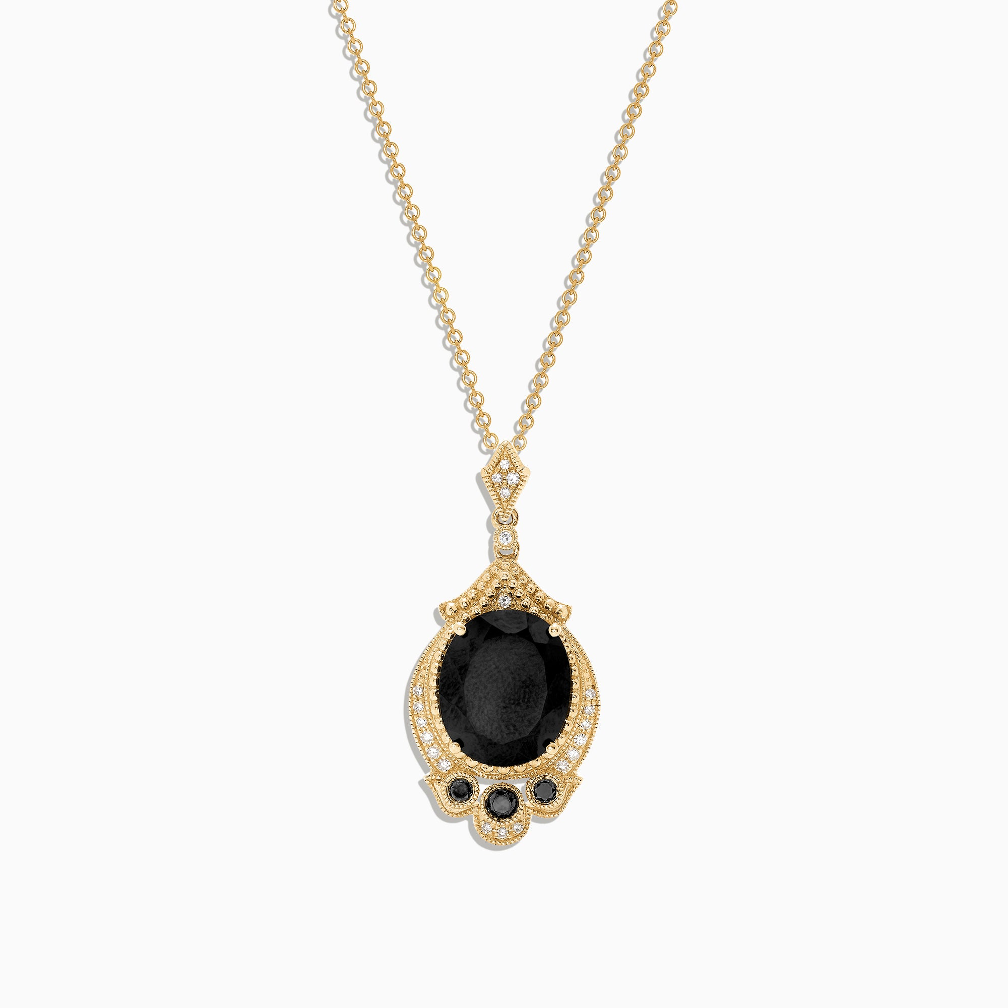 Effy 14K Yellow Gold Black Jade and Diamond Pendant, 6.03 TCW
