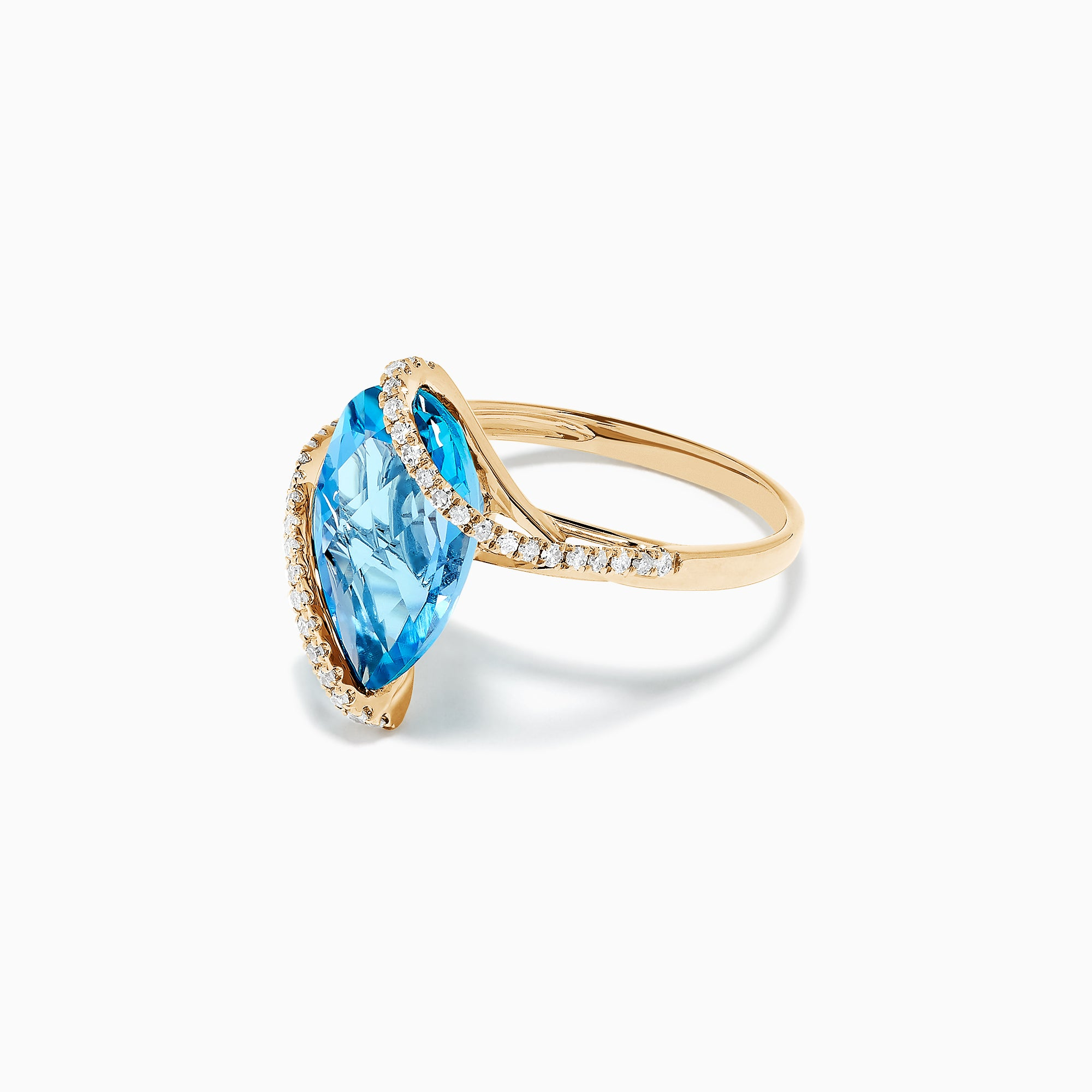 Effy Ocean Bleu 14K Yellow Gold Blue Topaz and Diamond Ring, 6.28 TCW